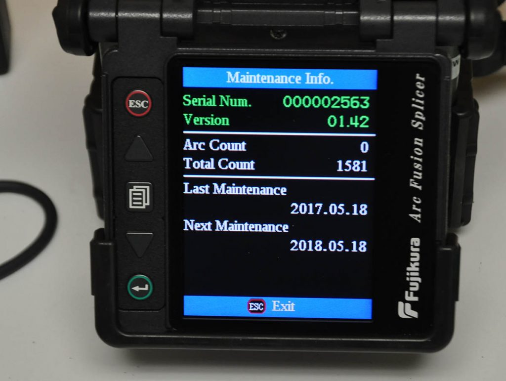 Fujikura FSM-60R Fusion Splicer Screen View