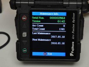 Fujikura FSM-60R Fusion Splicer Screen View