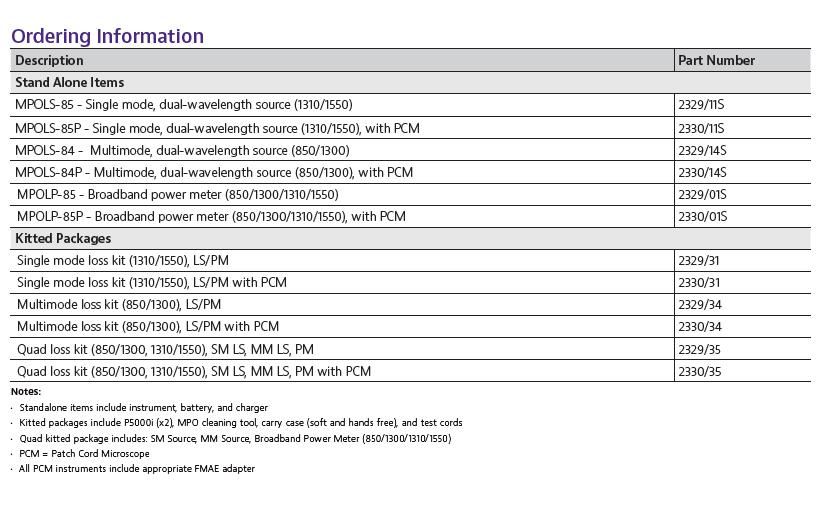 Viavi MPOLx Optical Loss Test Sets Ordering Info