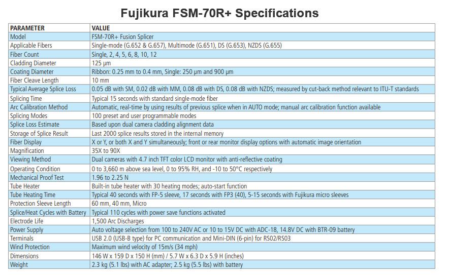 Fujikura FSM-70R+ Fusion Splicer Specifications